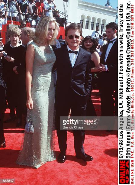 Los Angeles CA Michael J Fox with his wife Tracy Pollan at the 50th Annual Emmy Awards