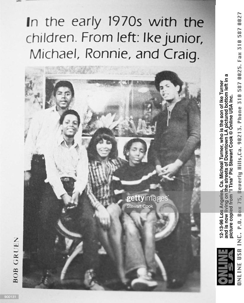 Los Angeles, Ca. Michael Turner who is the son of Ike Turner and is now living on the streets in Downtown LA pictured bottom left in a pic copied from Tina Turners bio 'I Tina'