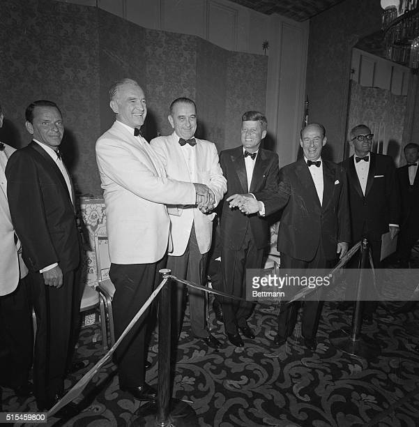 Movie star Frank Sinatra wears the lean and hungry look as he watches the top four contenders for the Democratic Party Presidential nomination on the...