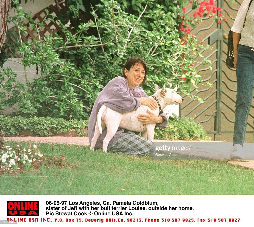 06-04-97 Los Angeles, Ca. Pamela Goldblum, sister of Jeff with her bull terrier outside her home. : News Photo