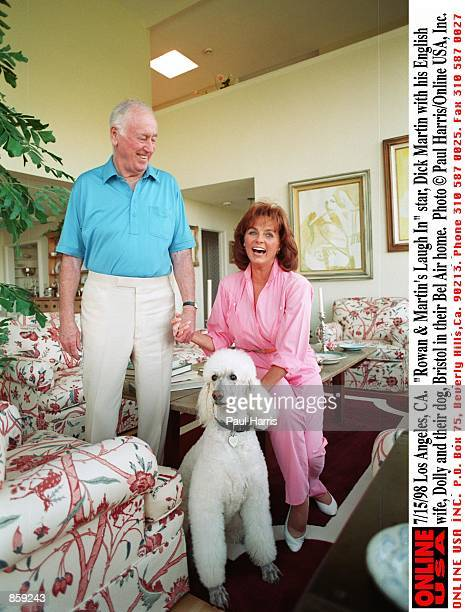 Los Angeles CA Rowan Martin's Laugh In star Dick Martin with his English wife Dolly and their dog Bristol in their Bel Air home
