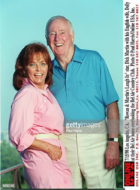 Los Angeles CA Rowan Martin's Laugh In star Dick Martin with his English wife Dolly at their Bel Air home