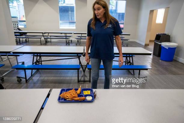 Los Angeles, CA - September 11,2021: Republican gubernatorial candidate Caitlyn Jenner sits down for lunch during a tour of the Los Angeles Dream...