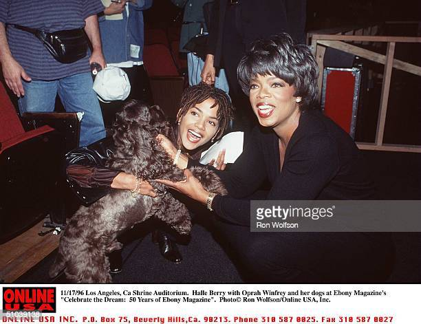 Los Angeles Ca Shrine Auditorium Halle Berry And Oprah And Her Dogs At Ebony Magazine's 'Celebrate The Dream 50 Years Of Ebony Magazine'