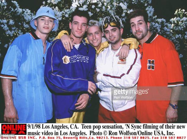 Los Angeles CA Teen pop sensation ''N Sync in Los Angeles filming their new music video lr Justin JC Lance Chris Joey