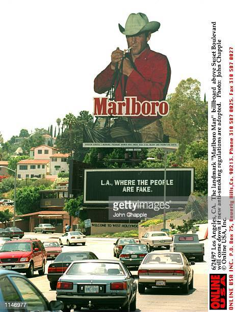 Los Angeles CA The landmark Marlboro Man billboard above Sunset Boulevard will come down if new antismoking regulations are adopted
