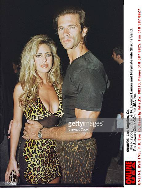 Los Angeles Ca The Playboy jungle party in aid of APLA Lorenzo Lamas and Playmate wife Shauna Sand