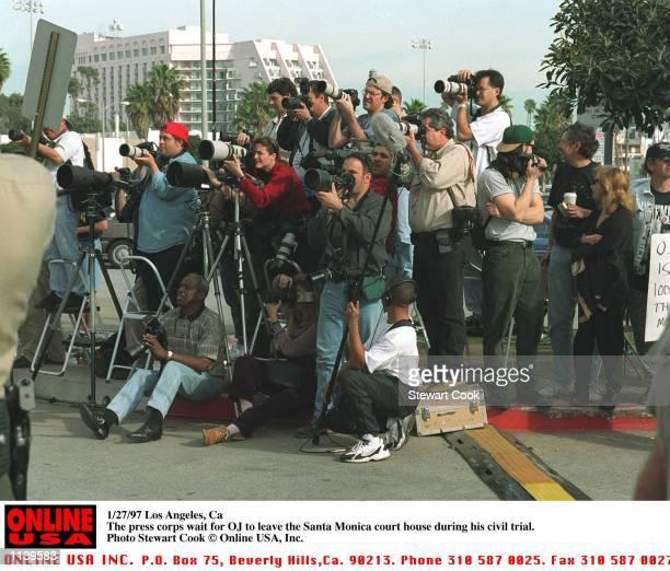 Los Angeles Ca The press corps wait outside the Santa Monica court house for OJ