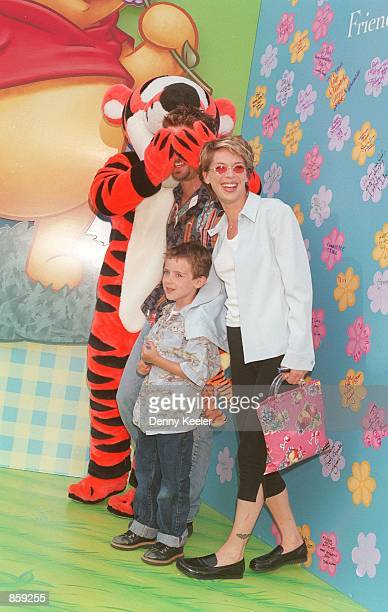Los Angeles CA Tigger Jason Priestly with his wife Ashlee and her son Matt at Griffith Park to celebrate Pooh Friendship Day and the kick off of the...
