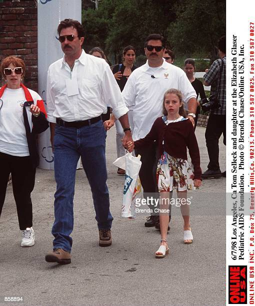 Los Angeles Ca Tom Selleck and daughter at the Elizabeth Glaser Pediatric AIDS Foundation