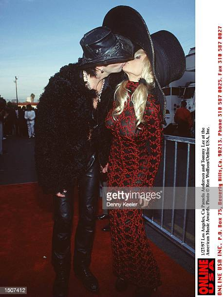 Los Angeles Ca Tommy Lee and Pamela Anderson at the American Music Awards