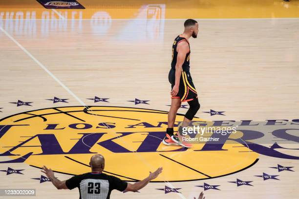 Los Angeles, CA, Wednesday, May 19, 2021 _ Golden State Warriors guard Stephen Curry walks off the court in defeat after losing to the Lakers 103-100...