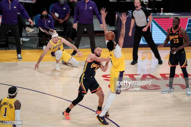 Los Angeles, CA, Wednesday, May 19, 2021 _ Los Angeles Lakers forward Anthony Davis knocks the ball away from Golden State Warriors guard Stephen...