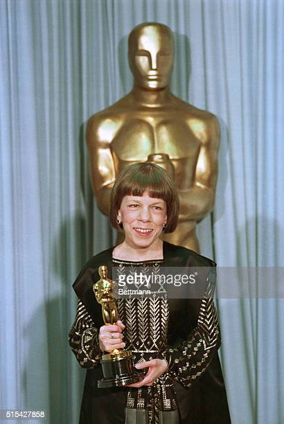 Los Angeles California Actress Linda Hunt posing with her Oscar won for her role in The Year of Living Dangerously