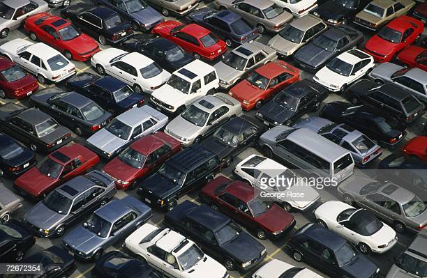 Los Angeles, California, aerial photograph depicts interesting patterns of parked cars.
