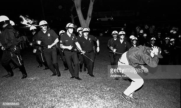 protests against a notguilty verdict against LAPD officers in the beating of Rodney King transformed into civil unrest Scan from negative of LAPD...