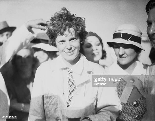 Los Angeles California As Amelia Earhart Ended CoastToCoast Flight Amelia Earhart first lady of aviation is shown immediately after she landed her...