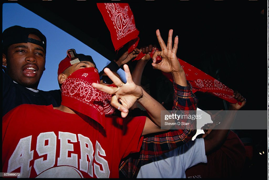 Bloods gang members gesturing their sign pictures getty images bloods and crips make music video bangin on wax altavistaventures Images