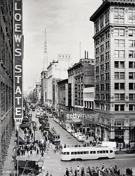 Los Angeles California Broadway The shopping center of the downtown district The hub of the busiest metropolis west of Chicago Undated photograph
