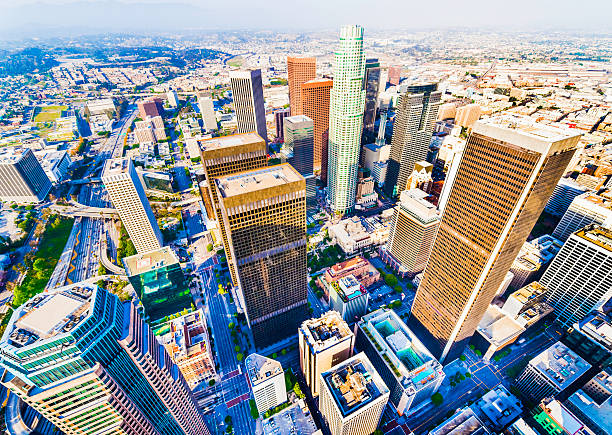 Los Angeles downtown skyscrapers Aerial view