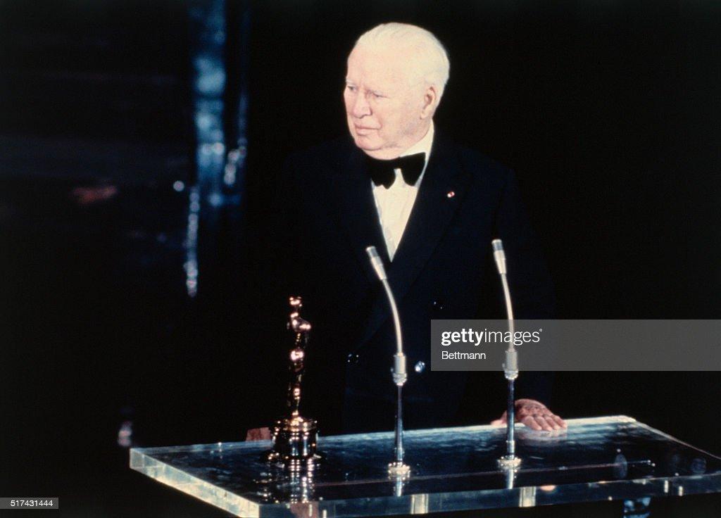 Charlie Chaplin Giving an Acceptance Speech : News Photo