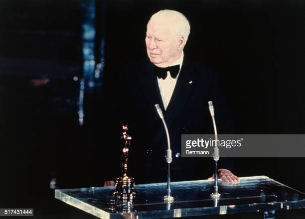 Los Angeles California Famed comedian Charlie Chaplin recipient of an honorary Oscar makes acceptance speech at the 44th annual Academy Awards...