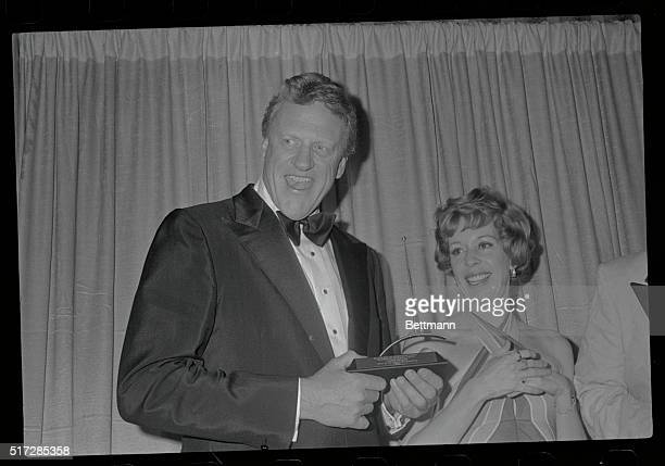 Los Angeles California James Arness star of CBSTelevision's Gunsmoke wears a big smile after he was presented the 13th annual International...