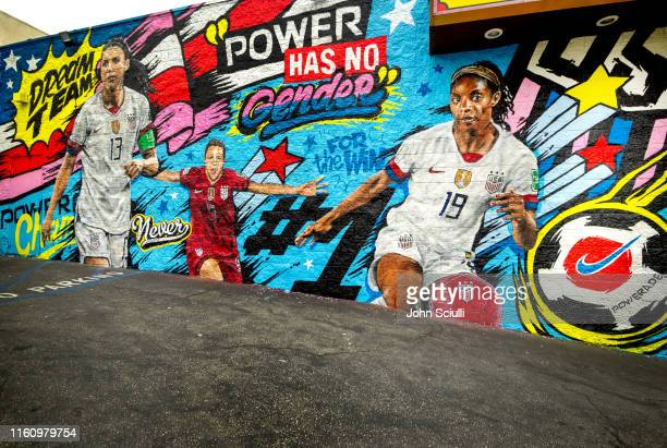 POWERADE celebrates the US Women's National Team championship with a mural featuring Crystal Dunn Alex Morgan and Kelley O'Hara Mural created by...