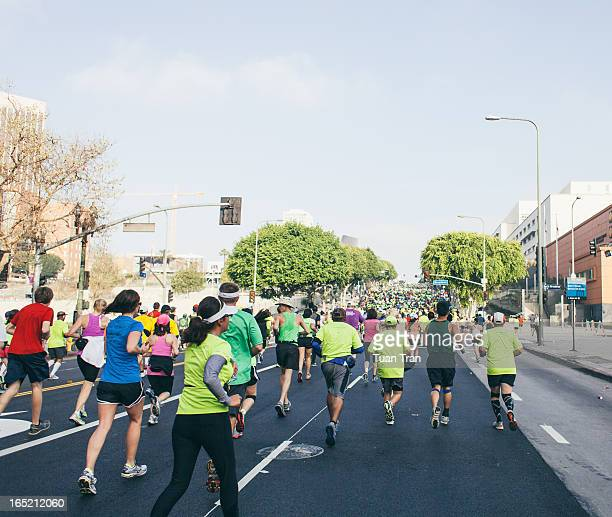 Los Angeles, California - March 17,2013: Runners in action during the Los Angeles Marathon on March 17, 2013. The marathon started at Dodger's...