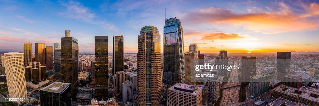 Los Angeles, Kalifornien Panorama bei Nacht von oben : Stock-Foto