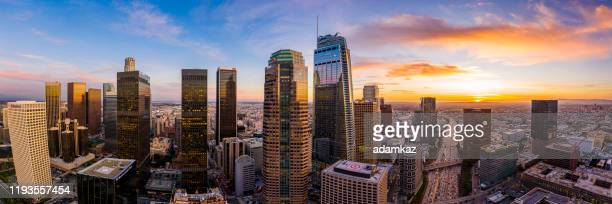 los angeles, california panorama at night from above - city of los angeles stock pictures, royalty-free photos & images