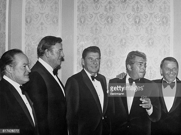 Los Angeles California Show business elite who turned out the help fill Gov Ronald Reagan's campaign coffers are LTR Bob Hope John Wayne Dean Martin...