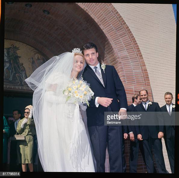 Rick Nelson And Kirs Harmon Leaving Church After Wedding
