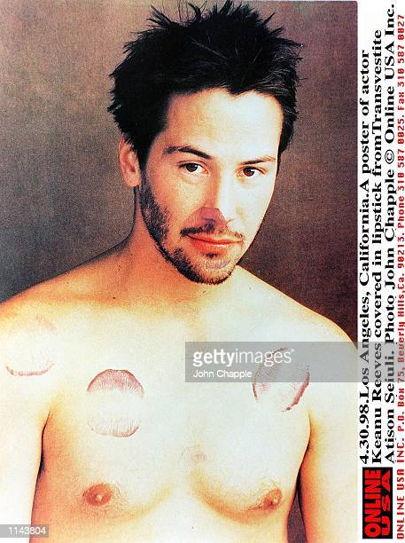 43098 Los Angeles CaliforniaA poster of actor Keanu Reeves covered in lipstick by Transvestite Atison Seiuli