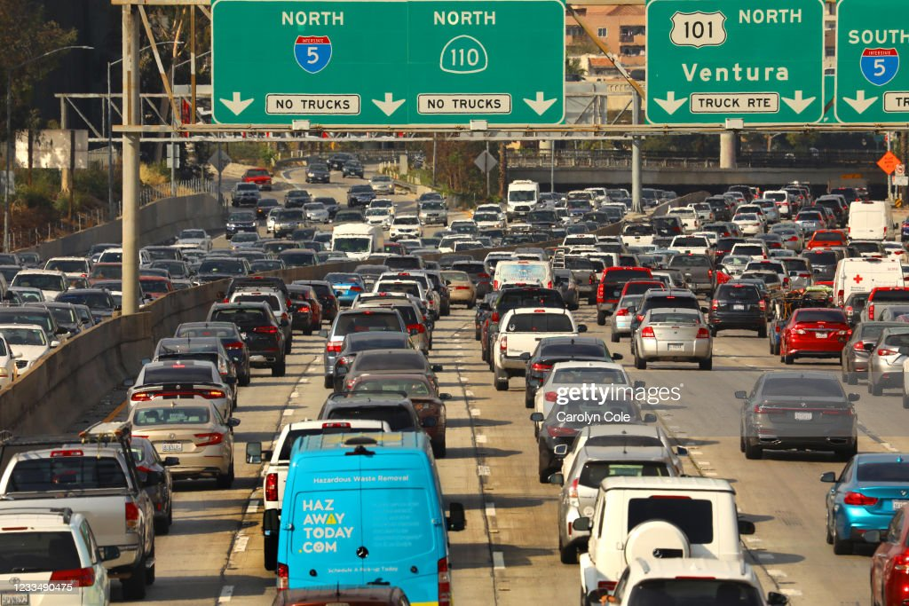 Traffic, Los Angeles, reopening, downtown, 110 freeway. : News Photo