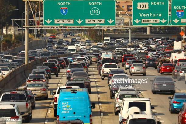 Los Angeles, CaliforniaJune 15, 2021Traffic has returned to Los Angeles. Rush hour at the intersection of the 110 and 101 freeways on June 15, 2021.