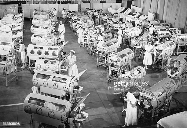 Iron lungs line up in allout war on polio at the new Ranchos Los Amigos Respiratory Center after being rushed from the Los Angeles County Hospital in...