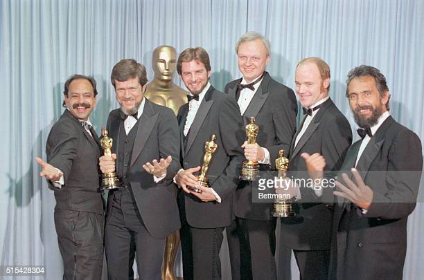 Los Angeles CaWinners of the Academy Award for the Best Visual Effects for the movie Return of the Jedi stand in a group holding their Oscars They...