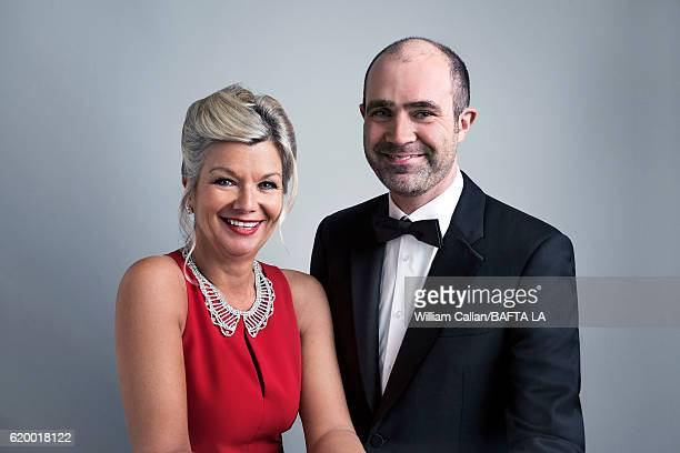 Los Angeles CEO Chantal Rickards and BAFTA COO Matthew Wiseman pose for a portrait at the 2016 AMD British Academy Britannia Awards presented by...
