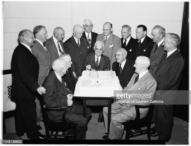 Los Angeles Chamber of Commerce celebrates sixtythird birthday 18 October 1951 Past Presidents Oscar A Mueller John C Austin Joseph Scott George L...