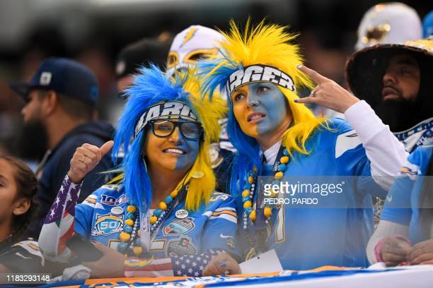 Los Angeles charger fans cheer during the 2019 NFL week 11 regular season football game between Kansas City Chiefs and Los Angeles Chargers on...