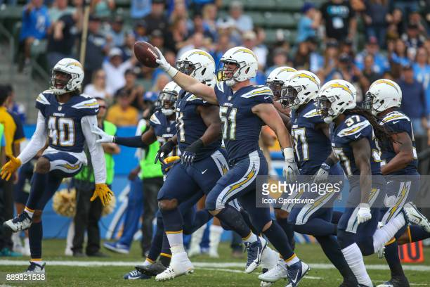 Los Angeles Chargers defense during a NFL game between the Washington Redskins and the Los Angeles Chargers on December 10 2017 at the StubHub Center...