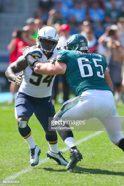 Los Angeles Chargers defensive end Melvin Ingram blocks during the Philadelphia Eagles game versus the Los Angeles Chargers on October 1 at StubHub...