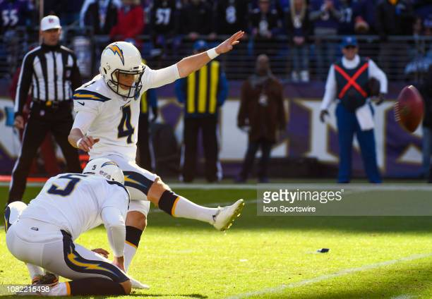 Los Angeles Chargers kicker Mike Badgley kicks a field goal against the Baltimore Ravens on January 6 at MT Bank Stadium in Baltimore MD