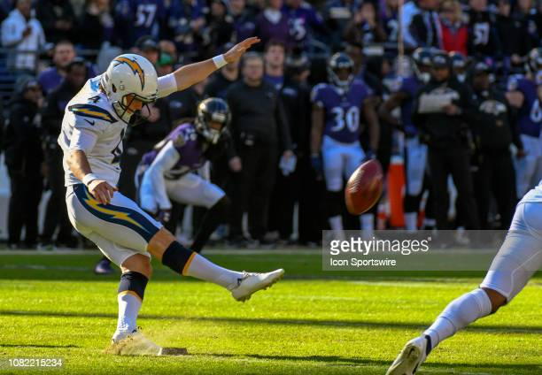 Los Angeles Chargers kicker Mike Badgley kicks off to start the game against the Baltimore Ravens on January 6 at MT Bank Stadium in Baltimore MD