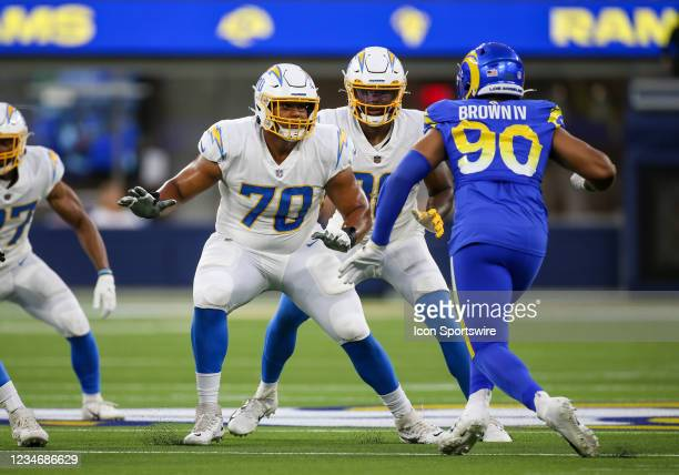 Los Angeles Chargers offensive tackle Rashawn Slater during the NFL preseason game between the Los Angeles Chargers and the Los Angeles Rams on...