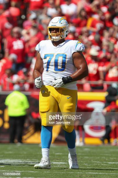 Los Angeles Chargers offensive tackle Rashawn Slater in the first quarter of an AFC West matchup between the Los Angeles Chargers and Kansas City...