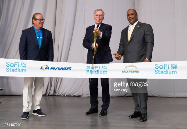 Los Angeles Chargers Owner and Chairman Dean Spanos, Los Angeles Rams Owner and Chairman Stan Kroenke and Inglewood Mayor James T. Butts Jr. Attend...
