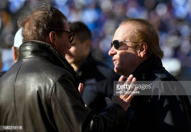 Los Angeles Chargers owner Dean Spanos is greeted by the Baltimore Ravens owner Steve Bisciotti on January 6 at MT Bank Stadium in Baltimore MD