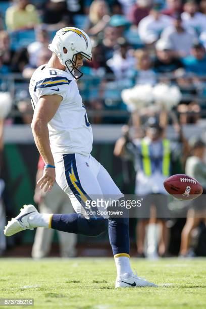 Los Angeles Chargers punter Drew Kaser punts during the game between the Los Angeles Chargers and the Jacksonville Jaguars on November 12 2017 at...